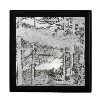 Snow Trees Art Tile-Top Jewerly Box