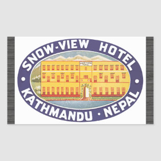 Snow-View Hotel Kathmandu Nepal, Vintage Rectangular Sticker