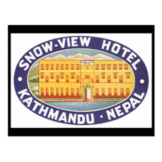 Snow View Hotel Nepal_Vintage Travel Poster Postcard