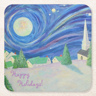 Snow Village Holiday Party Coaster