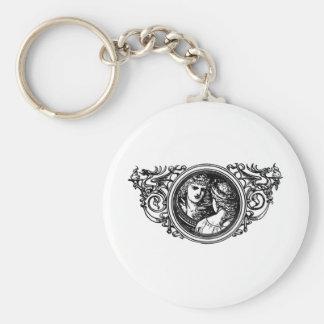 snow white basic round button key ring