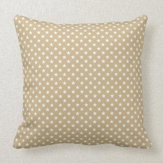 Snow White Christmas Stars on Gold Cushion