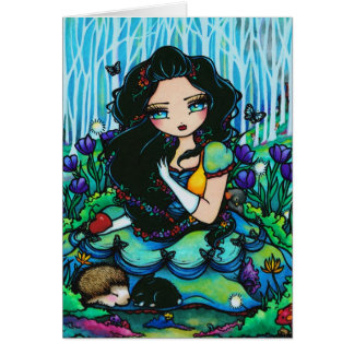 Snow White Forest Fairy Fantasy Girl Art Card