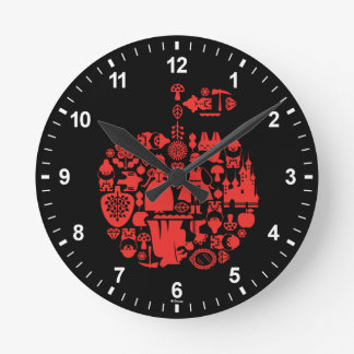 Snow White & Friends Apple Round Clock