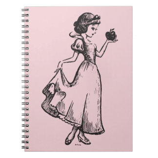 Snow White   Holding Apple - Elegant Sketch Spiral Notebook