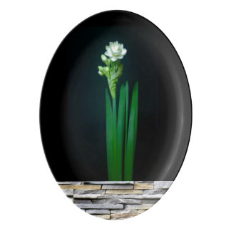 Snow White Narcissus Slate Wall accent Black Porcelain Serving Platter