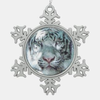 Snow White Tiger Snowflake Pewter Christmas Ornament