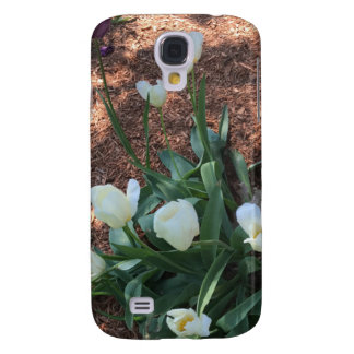 Snow white tulip type flowers in a garden samsung galaxy s4 cases