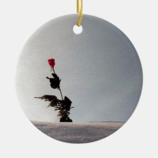 Snow will never kill my Rose Ceramic Ornament