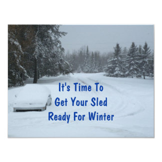 """Snow Winter Business Announcement Appointments 4.25"""" X 5.5"""" Invitation Card"""
