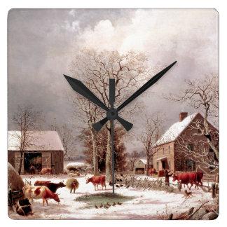 Snow Winter Farm Cows Ducks Turkeys Wall Clock