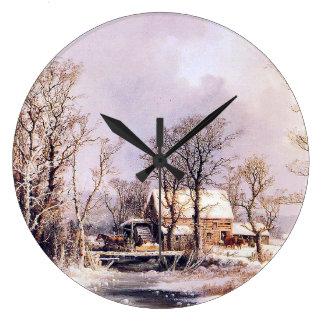 Snow Winter Farm Creek Horse Sleigh Wall Clock