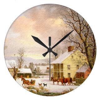 Snow Winter Farmhouse Horse Sleigh Wall Clock