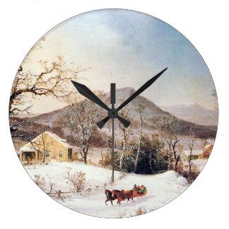 Snow Winter Farmhouses Horse Sleigh Wall Clock