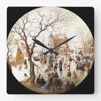 Snow Winter Fun on the Ice Holland Wall Clock