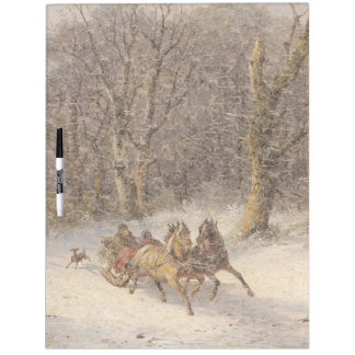 Snow Winter Horses Sleigh Dry Erase Board