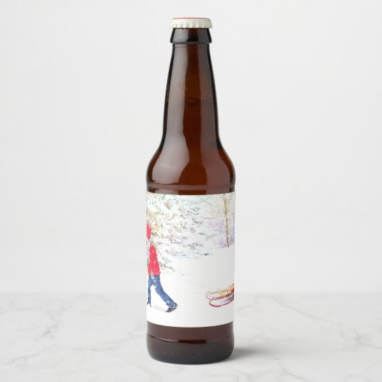 Snow winter sled boy christmas holidays beer bottle label