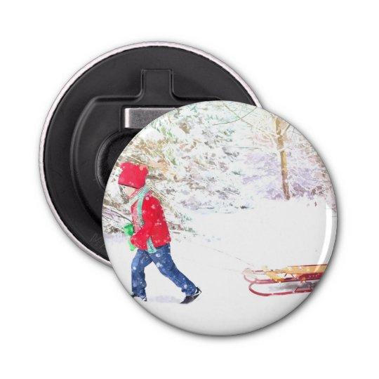 Snow winter sled boy christmas holidays bottle opener