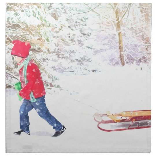 Snow winter sled boy christmas holidays napkin