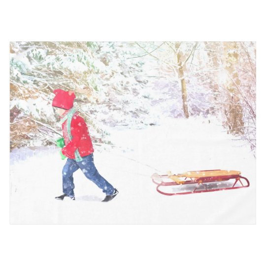 Snow winter sled boy christmas holidays tablecloth