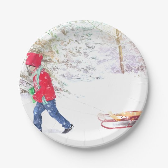 Snow winter sled boy christmas watercolor paper plate