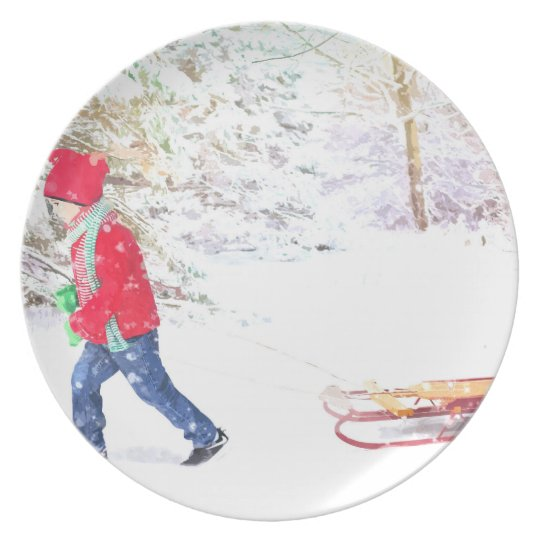 Snow winter sled boy christmas watercolor plate