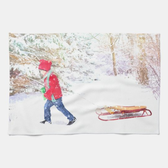 Snow winter sled boy christmas watercolor tea towel
