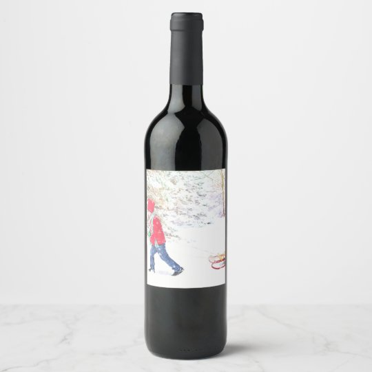 Snow winter sled boy christmas watercolor wine label