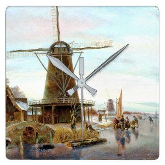Snow Winter Windmill Holland Canal Boat Wall Clock