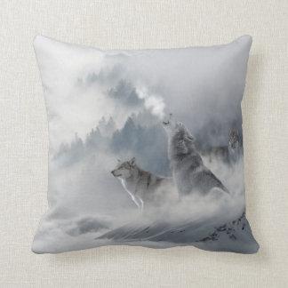 Snow Wolf Print Cushion