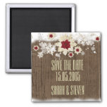 Snow Wood Christmas Save the date Square Magnet