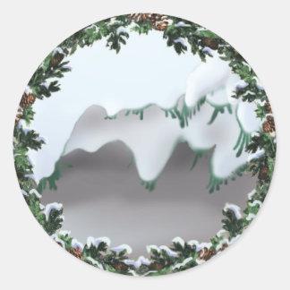 SNOW & WREATH by SHARON SHARPE Sticker
