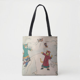 Snowball Fight Cats Tote Bag