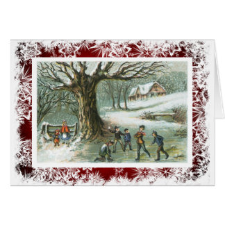 Snowball Fight Victorian Vintage Christmas Note Card