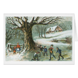 Snowball Fight Vintage Victorian Christmas Card