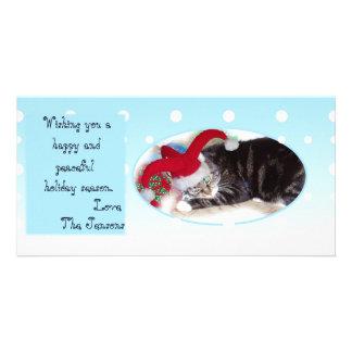 Snowball pet holiday card photo card