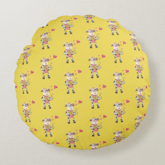 Snowbell in love pattern round yellow pillow