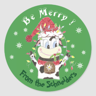 Snowbell the cow-Be merry , Christmas stickers
