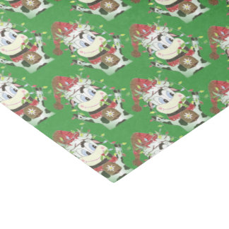 Snowbell the cow Christmas green tissue paper