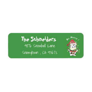 Snowbell the cow green return address labels