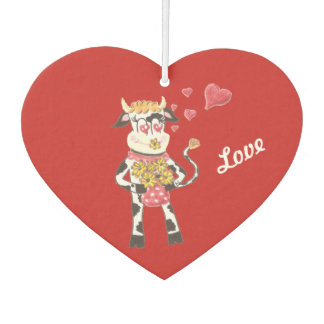 snowbell the cow in love car air freshener