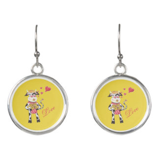 Snowbell the cow in love yellow drop earrings