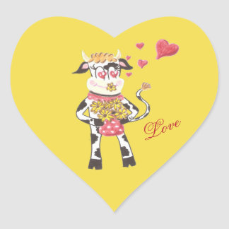 Snowbell the cow , in love , yellow heart stickers