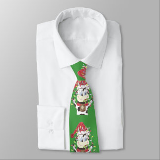 Snowbell the cow & the Xmas lights green tie