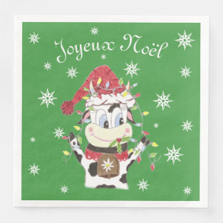 Snowbell the cow & the Xmas lights paper napkins