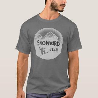 Snowbird Utah gray snowboarder guys tee