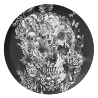 Snowbirds, skull made of birds and flowers party plates