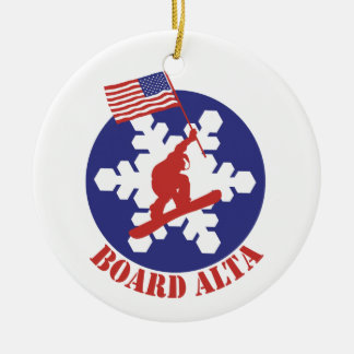 Snowboard Alta Ceramic Ornament