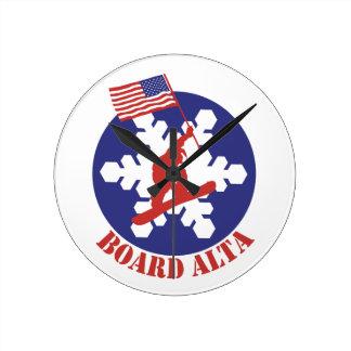 Snowboard Alta Round Clock