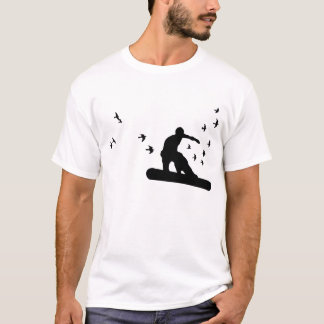 snowboard. board with birds. blk. T-Shirt